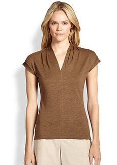 Lafayette 148 New York Pleated-Neckline Linen Tee