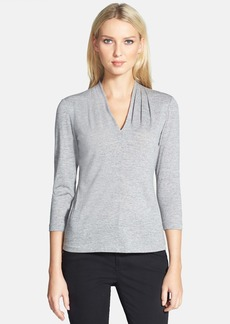 Lafayette 148 New York Pleated V-Neck Top