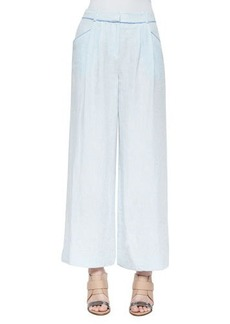 Lafayette 148 New York Pleated Wide-Leg Linen Pants