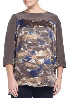 Lafayette 148 New York Plus Azura Printed 3/4-Sleeve Silk Blouse