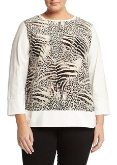 Lafayette 148 New York Plus Boat-Neck Animal-Print Woven Top