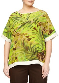 Lafayette 148 New York Plus Camira Printed Short-Sleeve Blouse