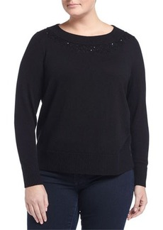 Lafayette 148 New York Plus Cashmere Sequined Bateau-Neck Sweater