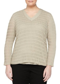 Lafayette 148 New York Plus Double-Layer Rib-Stitch Sweater