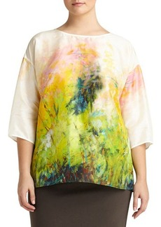 Lafayette 148 New York Plus Keline 3/4-Sleeve Printed Silk Blouse