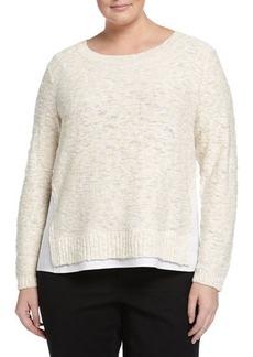 Lafayette 148 New York Plus Nubby Sweater W/Linen Trim