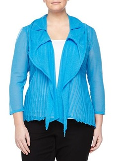 Lafayette 148 New York Plus Pintuck-Pleat Draped Cardigan