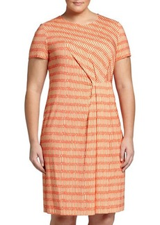 Lafayette 148 New York Plus Printed Short-Sleeve Pleated Sheath Dress