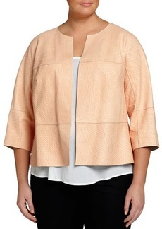 Lafayette 148 New York Plus Ritchie Embossed-Leather 3/4-Sleeve Jacket