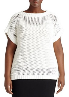 Lafayette 148 New York Plus Short-Sleeve Net Sweater