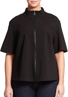 Lafayette 148 New York, Plus Size Beverly Short-Sleeve Zip-Up Jacket