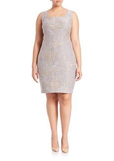 Lafayette 148 New York, Plus Size Carol Scroll-Embroidery Dress