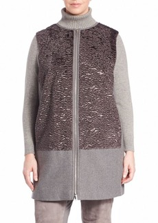 Lafayette 148 New York, Plus Size Faux-Fur Modern Coating Tamer Vest