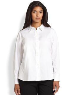 Lafayette 148 New York, Plus Size Francine Stretch Cotton Blouse