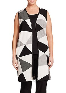 Lafayette 148 New York, Plus Size Geometric Jacquard Long Vest