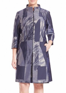 Lafayette 148 New York, Plus Size Kamina Prism Jacquard Coat