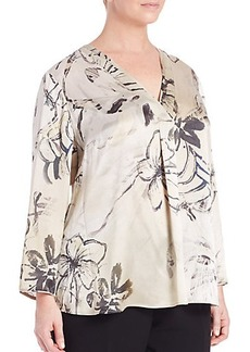 Lafayette 148 New York, Plus Size Libby Silk Printed Blouse