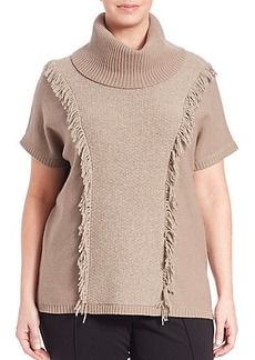 Lafayette 148 New York, Plus Size Loop-Stitch Fringed Wool Turtleneck