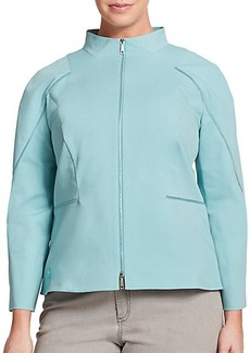 Lafayette 148 New York, Plus Size Marty Bi-Stretch Zip-Up Jacket