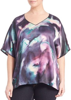 Lafayette 148 New York, Plus Size Olivette Silk Watercolor Top