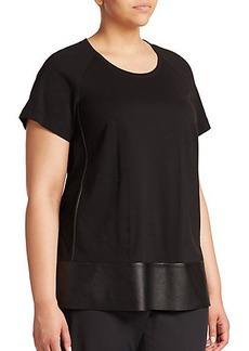 Lafayette 148 New York, Plus Size Ponte Contrast-Trim Top
