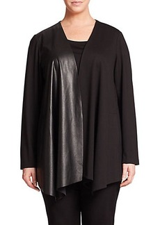 Lafayette 148 New York, Plus Size Punto Milano Mixed-Media Jacket