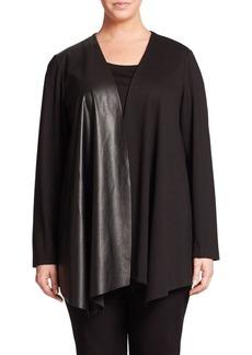 Lafayette 148 New York, Plus Size Punto Milano Mixed-Media Jacket