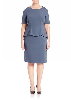 Lafayette 148 New York, Plus Size Punto Milano Peplum Shift Dress