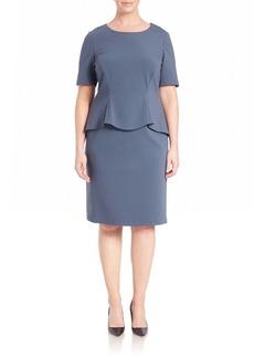 Lafayette 148 New York, Plus Size Punto Milano Peplum Shift Dress