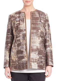 Lafayette 148 New York, Plus Size Rhythmic Waves Novelty Pria Jacket