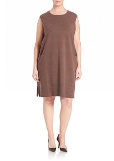 Lafayette 148 New York, Plus Size Rib-Detail Wool Flannel Dress