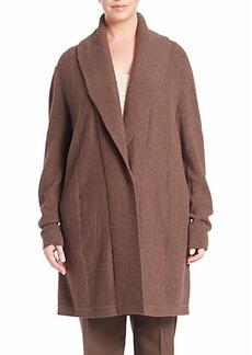 Lafayette 148 New York, Plus Size Ribbed Long Wool Shawl Cardigan