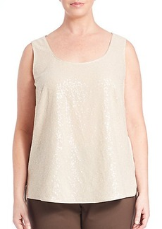 Lafayette 148 New York, Plus Size Silk Georgette Cleo Sequin-Front Blouse