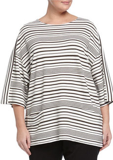 Lafayette 148 New York Plus Striped Top with Oversize Pockets