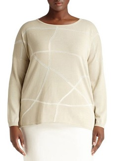 Lafayette 148 New York Plus Sweater W/Etched Intarsia Lines