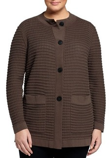 Lafayette 148 New York Plus Waffle-Stitch Button-Front Cardigan