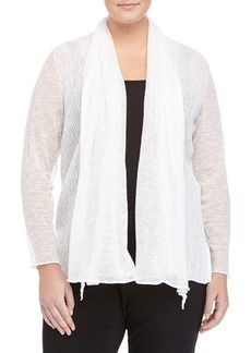 Lafayette 148 New York Plus Wave-Stitch Sheer Cardigan