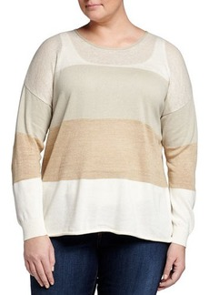 Lafayette 148 New York Plus Wide-Stripe Bateau-Neck Sweater