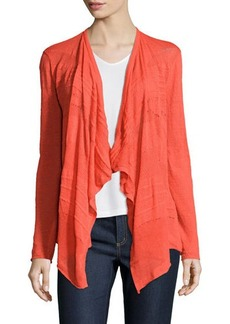 Lafayette 148 New York Pointelle Long-Sleeve Open-Front Cardigan