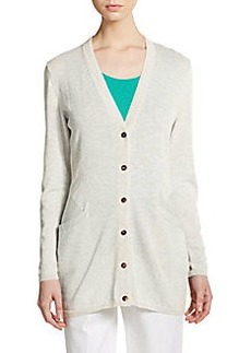 Lafayette 148 New York Pointelle Seamed Boyfriend Cardigan