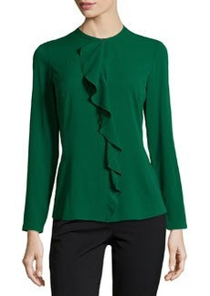 Lafayette 148 New York Polina Ruffled Stretch-Crepe Blouse, Emerald