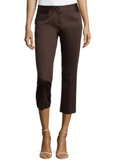Lafayette 148 New York Polished Cotton Cropped Pants, Espresso