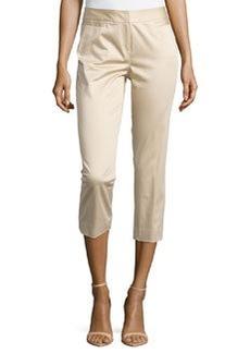 Lafayette 148 New York Polished Cotton Cropped Pants, Stone