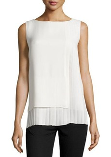 Lafayette 148 New York Poloma Pleated Chiffon Blouse