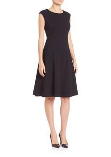 Lafayette 148 New York Ponte Curved-Seam Fit-&-Flare Dress