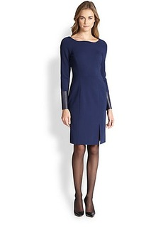 Lafayette 148 New York Ponte Leather-Detail Dress