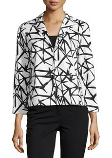 Lafayette 148 New York Poplin 3/4-Sleeve Jacket, Black Multi