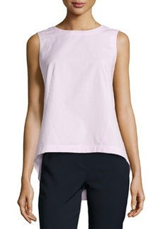 Lafayette 148 New York Poplin Back-Pleat Top, Frosted Rose