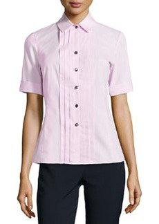 Lafayette 148 New York Poplin Pintucked Blouse, Frosted Rose