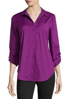 Lafayette 148 New York Poplin Spit-Neck Blouse, Sugar Plum